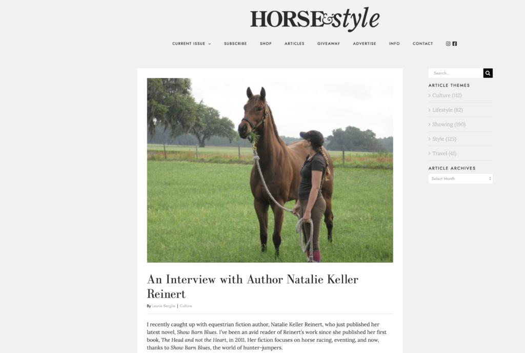 Horse & Style Mag Interview Natalie Keller Reinert
